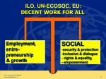 ilo un ecosoc eu decent work for all