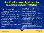 justifications used by donors for focusing on social protection