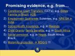 promising evidence e g from