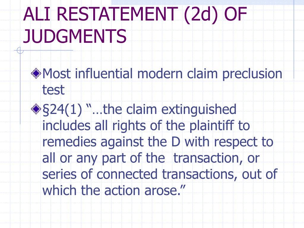 ALI RESTATEMENT (2d) OF JUDGMENTS