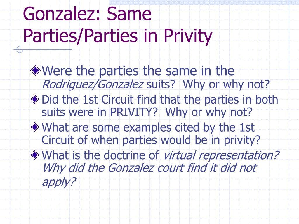 Gonzalez: Same Parties/Parties in Privity