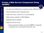 create a web service component using jaxrpc