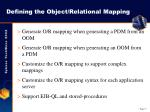 defining the object relational mapping