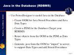 java in the database rdbms