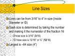 line sizes