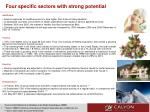 four specific sectors with strong potential