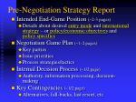 pre negotiation strategy report