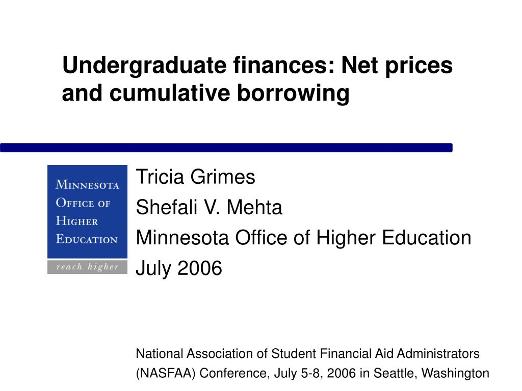 undergraduate finances net prices and cumulative borrowing l.