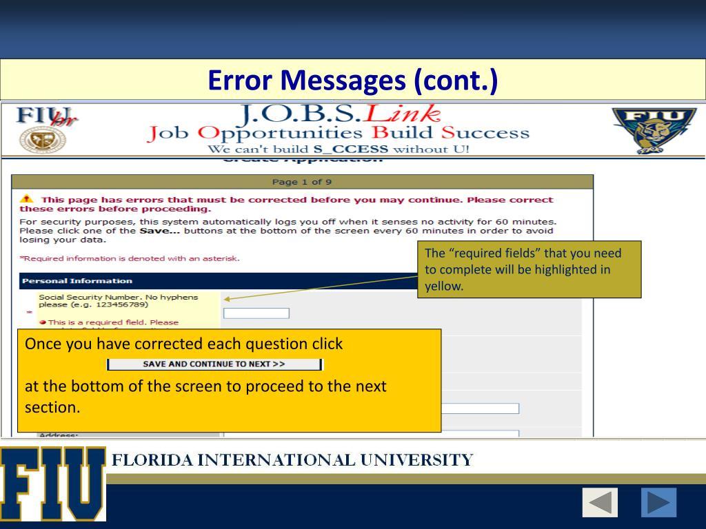 Error Messages (cont.)