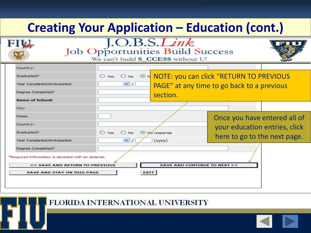 Creating Your Application – Education (cont.)