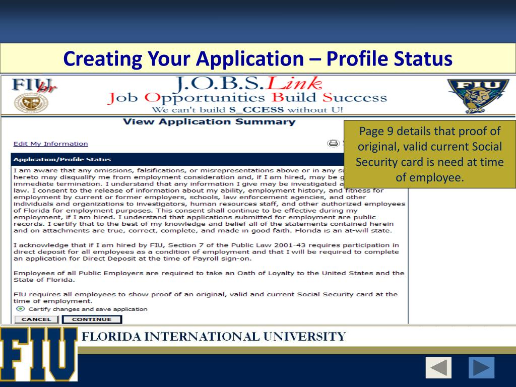 Creating Your Application – Profile Status