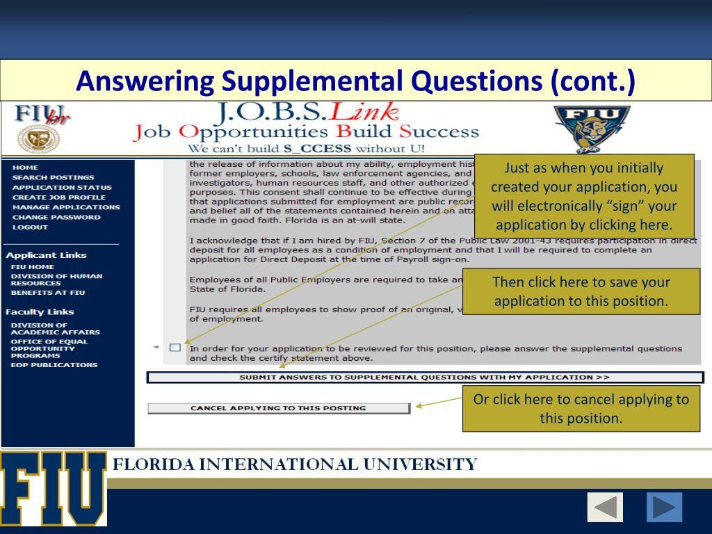 Answering Supplemental Questions (cont.)