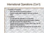 international operations con t
