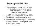 develop an exit plan