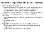 prudential regulation of financial markets