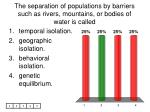 the separation of populations by barriers such as rivers mountains or bodies of water is called
