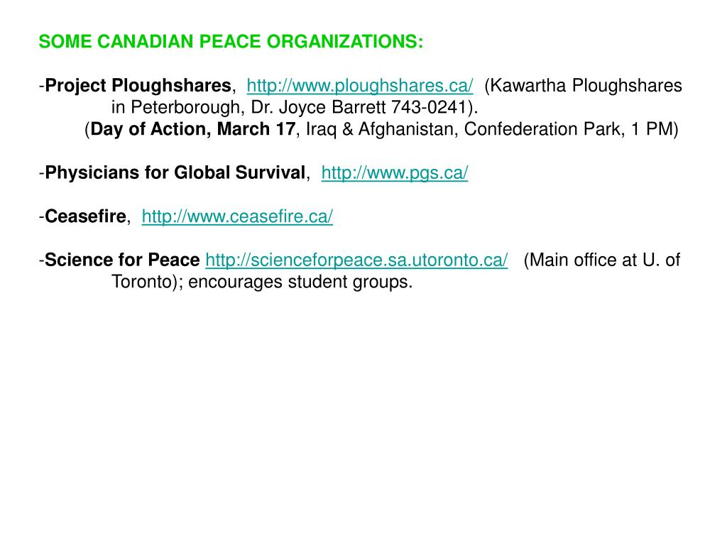 SOME CANADIAN PEACE ORGANIZATIONS: