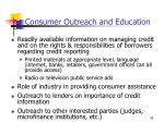 consumer outreach and education