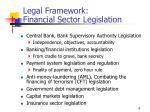 legal framework financial sector legislation