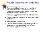 providers and users of credit data