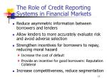 the role of credit reporting systems in financial markets