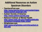 additional resources on autism spectrum disorders