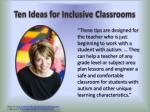 ten ideas for inclusive classrooms