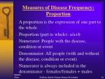 measures of disease frequency proportion