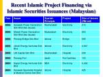 recent islamic project financing via islamic securities issuances malaysian