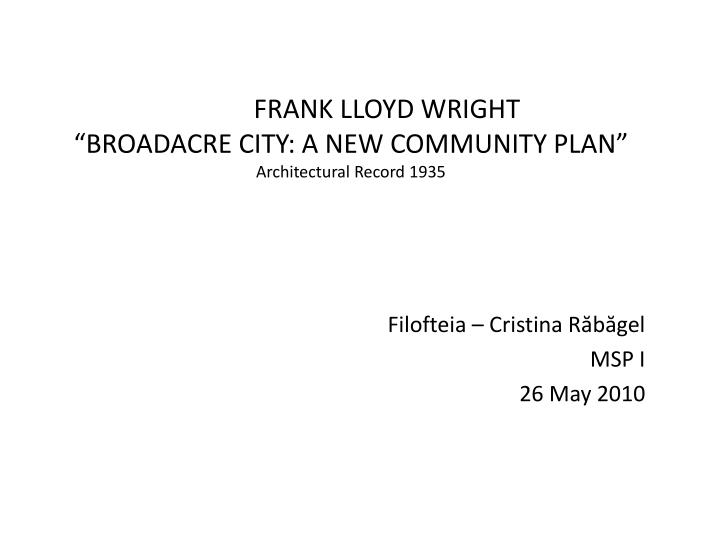 frank lloyd wright broadacre city a new community plan architectural record 1935 n.