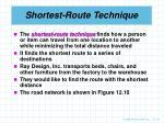 shortest route technique