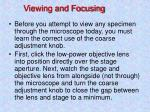 viewing and focusing