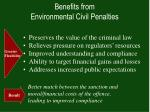 benefits from environmental civil penalties