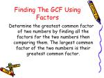 finding the gcf using factors