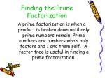 finding the prime factorization