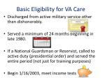 basic eligibility for va care