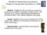 benefits for newly returning veterans theater of combat after november 11 1998