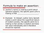 formula to make an assertion