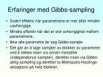 erfaringer med gibbs sampling