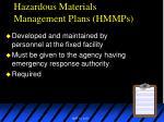 hazardous materials management plans hmmps