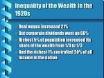 inequality of the wealth in the 1920s9