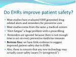 do ehrs improve patient safety