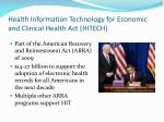 health information technology for economic and clinical health act hitech