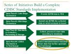 series of initiatives build a complete cdisc standards implementation