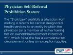 physician self referral prohibition statute