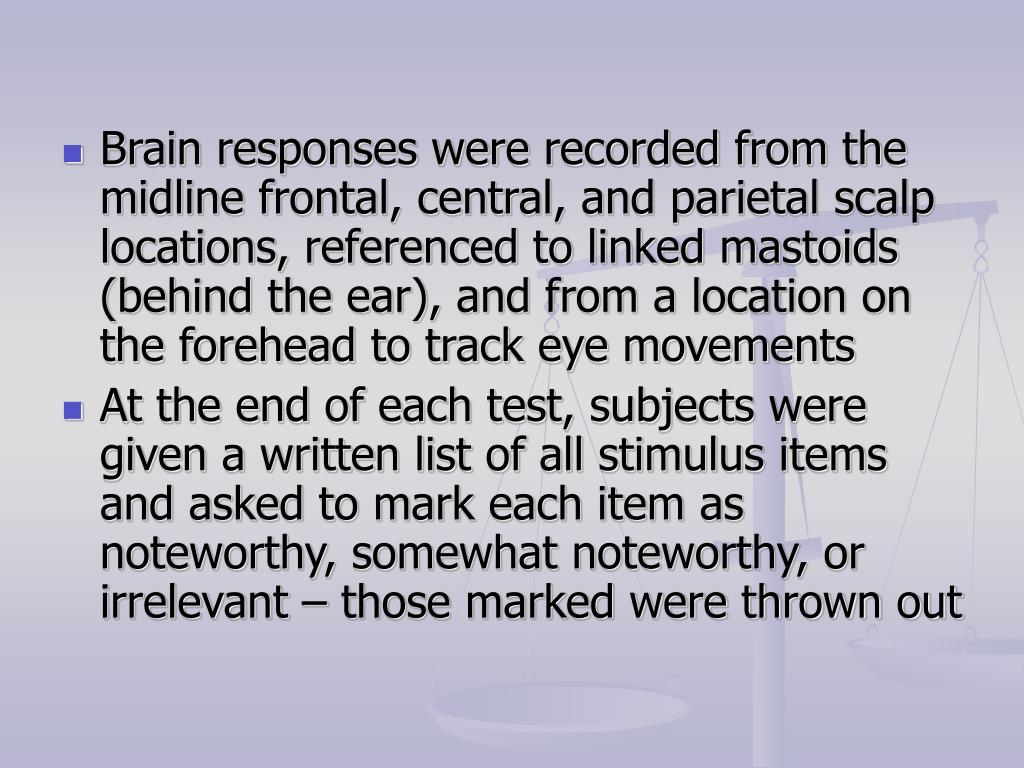 Brain responses were recorded from the midline frontal, central, and parietal scalp locations, referenced to linked mastoids (behind the ear), and from a location on the forehead to track eye movements