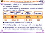 writing equations using chemical formulae