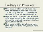 cut copy and paste cont