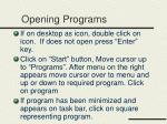 opening programs