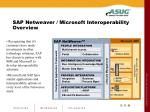sap netweaver microsoft interoperability overview
